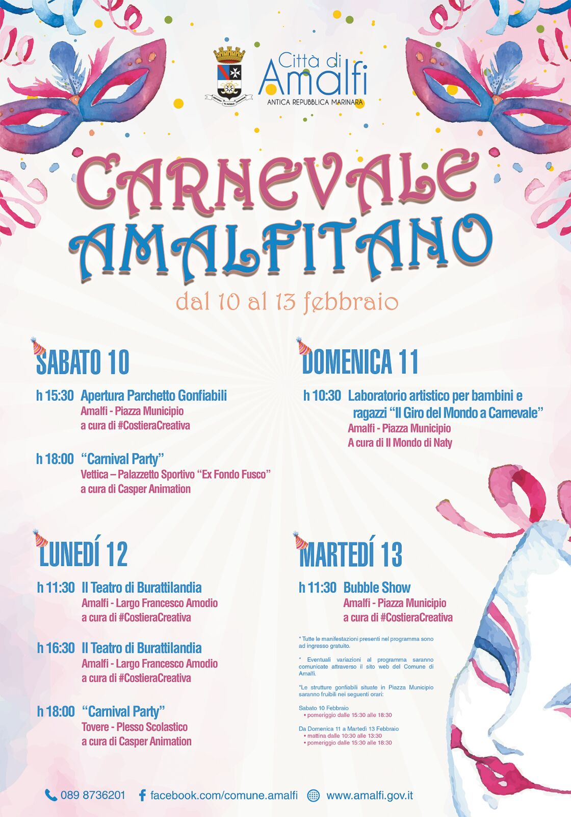 Free inflatables in Piazza Municipio for the Amalfitano Carnival